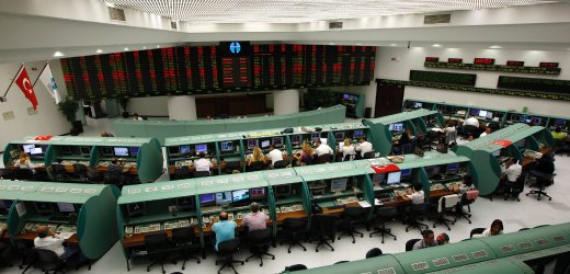 Traders work during morning session at the Istanbul Stock Exchange