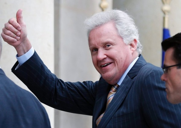General Electric CEO Jeffrey Immelt received at the Elysee Palace