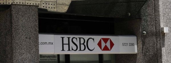 The logo of HSBC bank is pictured at a branch office in Mexico City