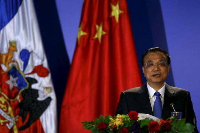 Chinese Premier Li Keqiang delivers a speech in Santiago city, May 26, 2015. REUTERS/Ivan Alvarado/Files