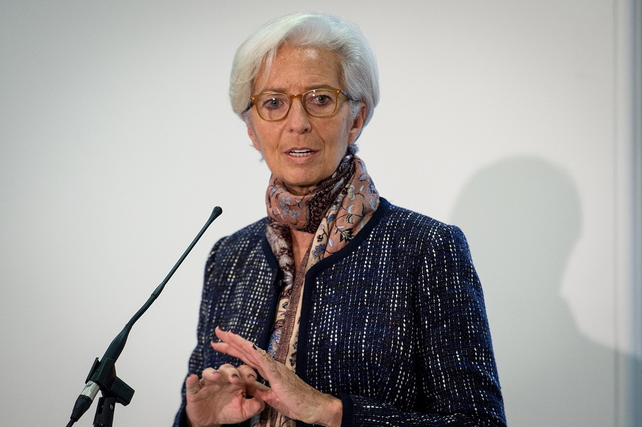 Managing Director of the International Monetary Fund Christine Lagarde speaks at a press conference at the Treasury in London, which was attended by Chancellor of the Exchequer George Osborne, where she presented the concluding statement for the IMF 2015 Article IV consultation with the UK HM Treasury. PRESS ASSOCIATION Photo. Picture date: Friday December 11, 2015. See PA story ECONOMY IMF. Photo credit should read: Stefan Rousseau/PA Wire