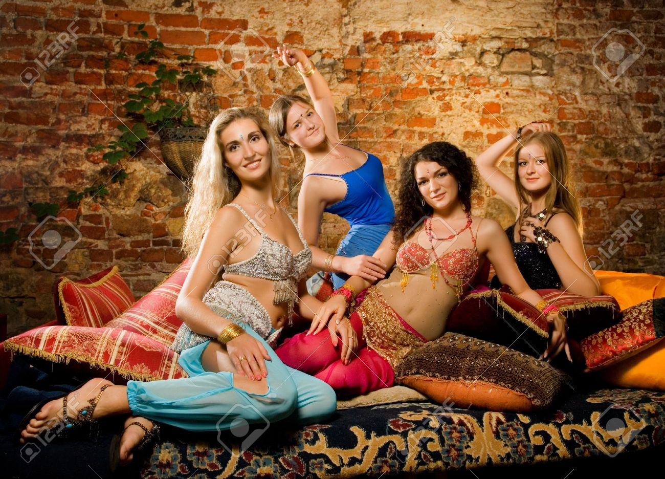3246665-group-of-beautiful-women-in-harem-stock-photo-harem-belly-girl