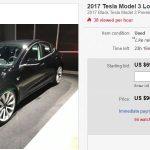 Primul Tesla Model 3 adevărat scos la vânzare pe eBay
